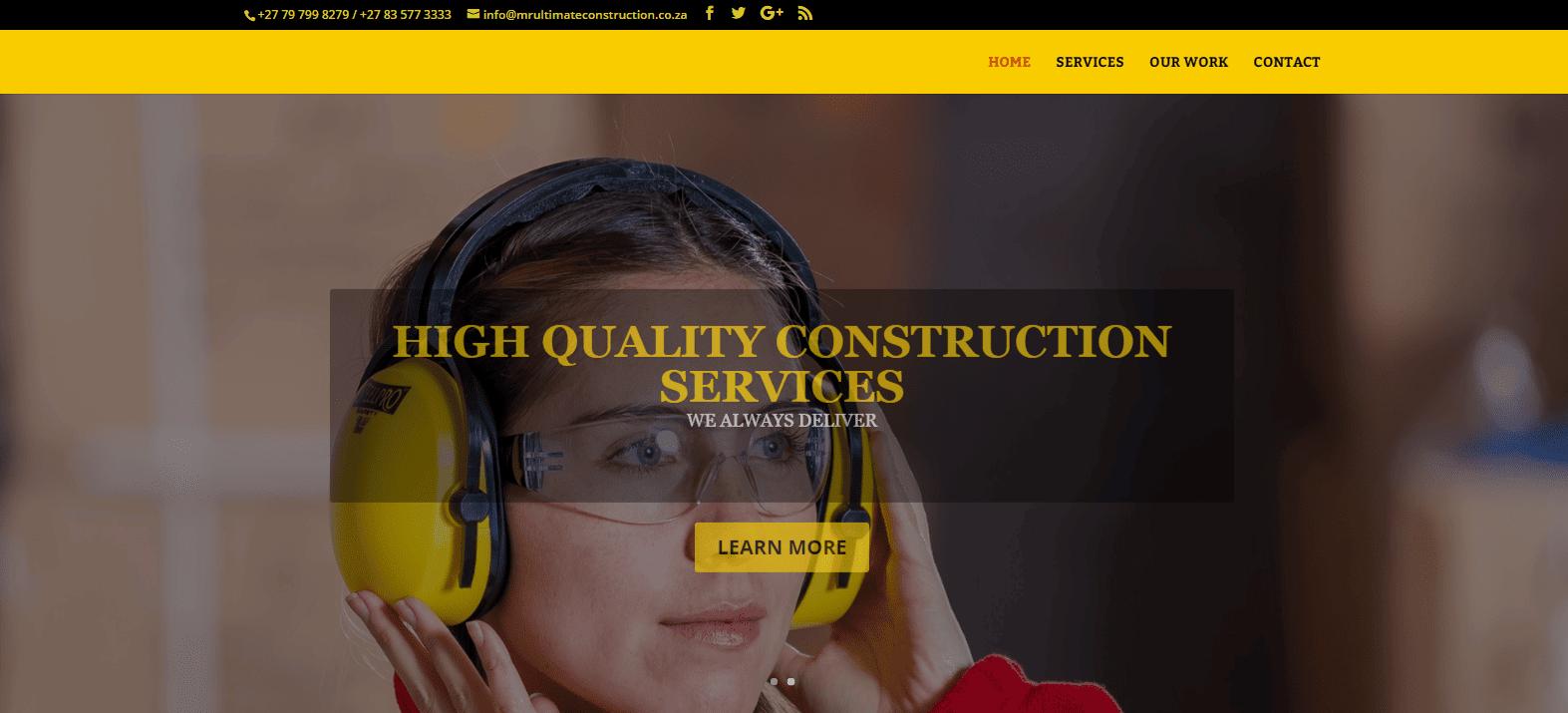 Mr Ultimate Construction - Website