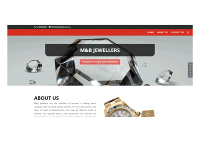 Website design portfolio for a jeweler